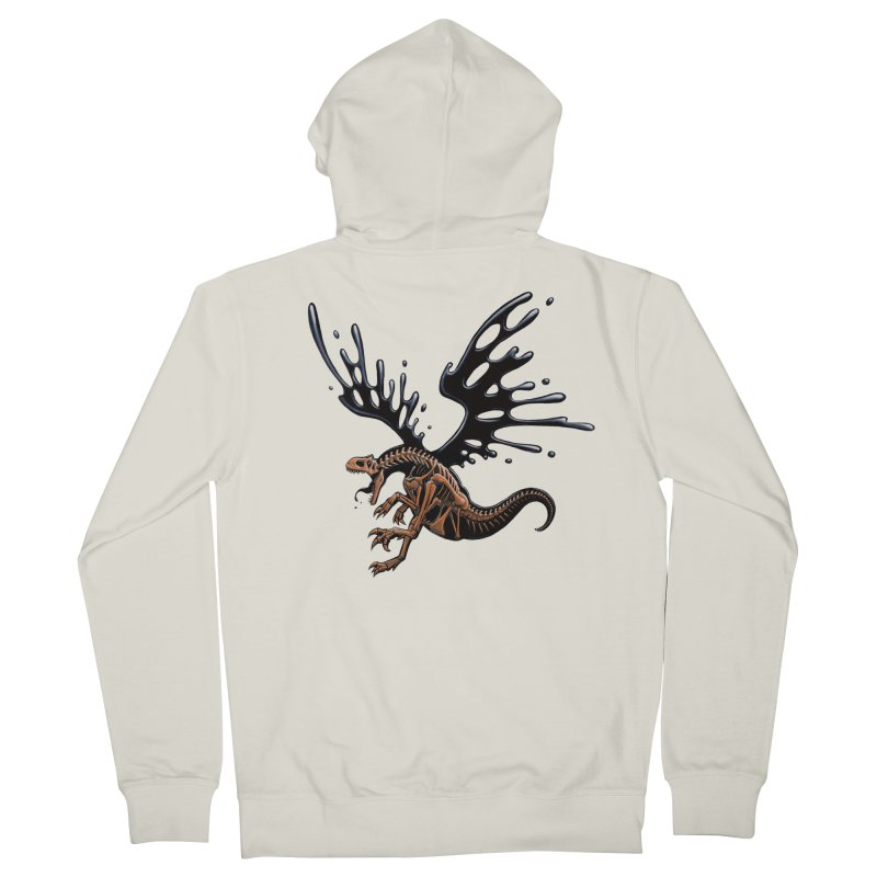 Allosaurus Tar & Feathered Men's French Terry Zip-Up Hoody by Crab Saw Apparel