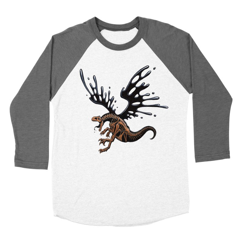 Allosaurus Tar & Feathered Women's Baseball Triblend Longsleeve T-Shirt by Crab Saw Apparel