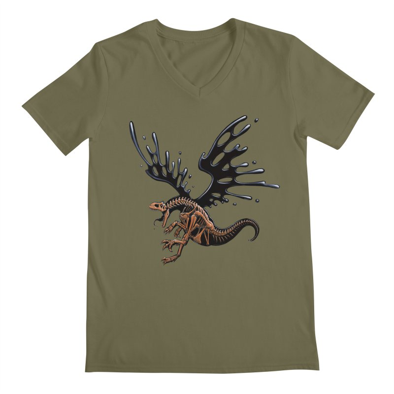 Allosaurus Tar & Feathered Men's Regular V-Neck by Crab Saw Apparel