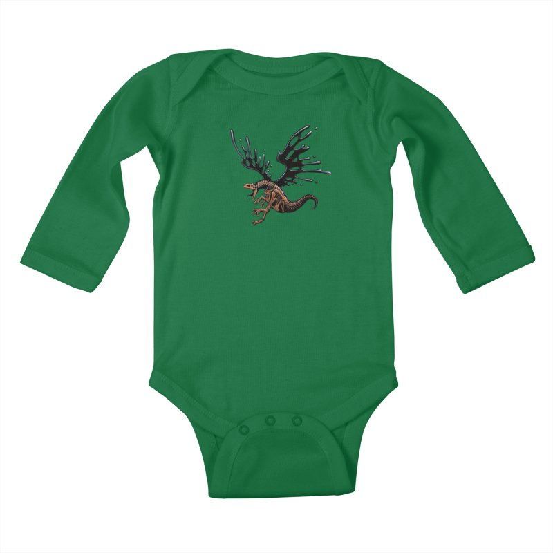 Allosaurus Tar & Feathered Kids Baby Longsleeve Bodysuit by Crab Saw Apparel