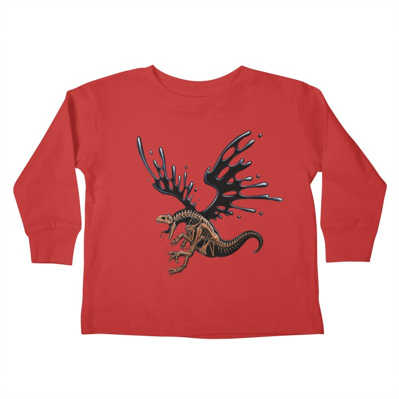 Allosaurus Tar & Feathered Kids Toddler Longsleeve T-Shirt by Crab Saw Apparel