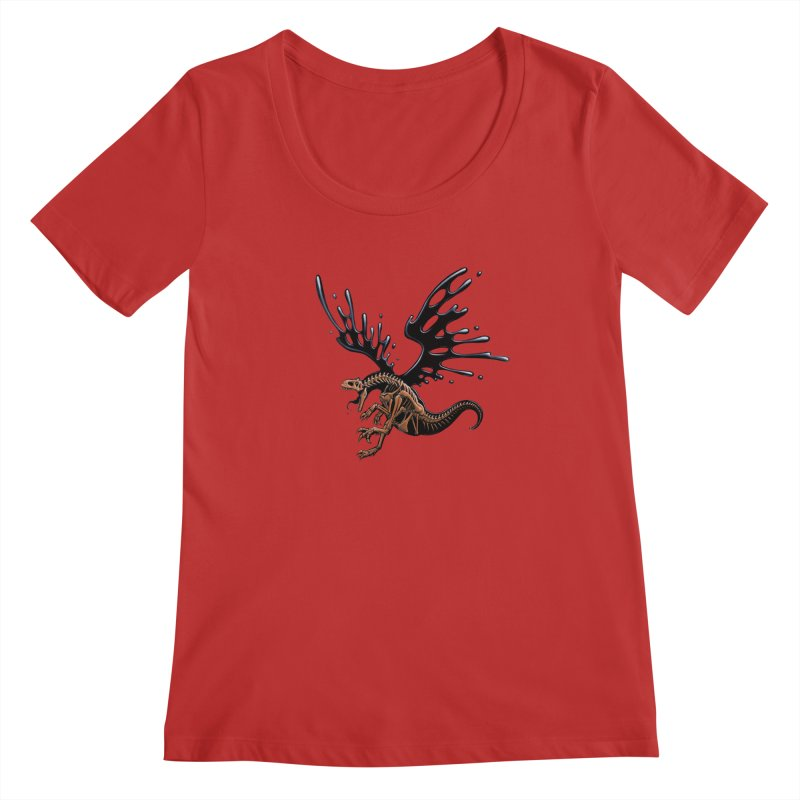Allosaurus Tar & Feathered Women's Regular Scoop Neck by Crab Saw Apparel