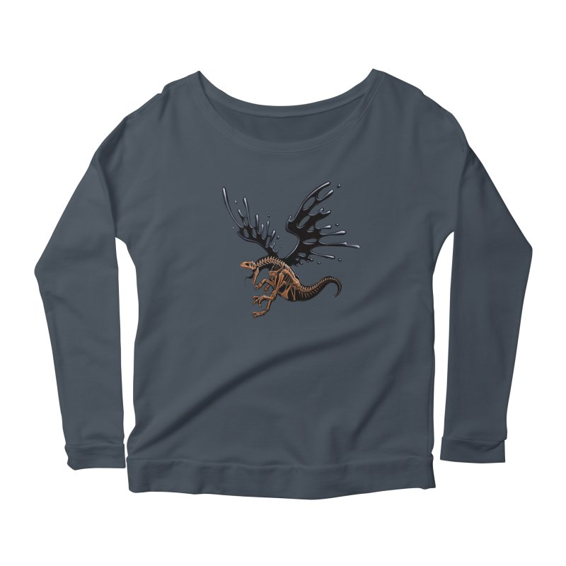 Allosaurus Tar & Feathered Women's Scoop Neck Longsleeve T-Shirt by Crab Saw Apparel