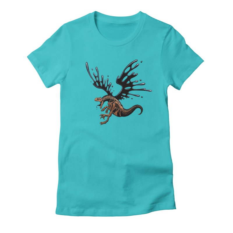 Allosaurus Tar & Feathered Women's Fitted T-Shirt by Crab Saw Apparel