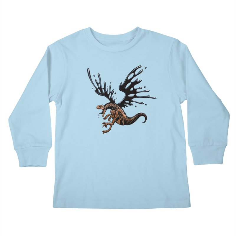 Allosaurus Tar & Feathered Kids Longsleeve T-Shirt by Crab Saw Apparel