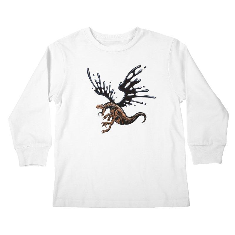 Allosaurus Tar & Feathered Kids Longsleeve T-Shirt by Crab Saw Apparel