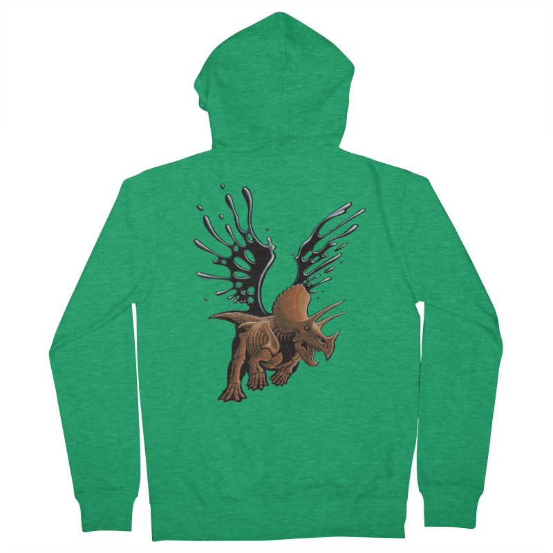 Triceratops Tar & Feathered Women's Zip-Up Hoody by Crab Saw Apparel