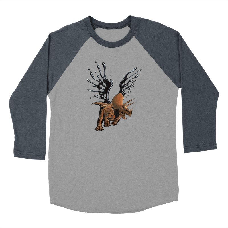 Triceratops Tar & Feathered Men's Baseball Triblend Longsleeve T-Shirt by Crab Saw Apparel
