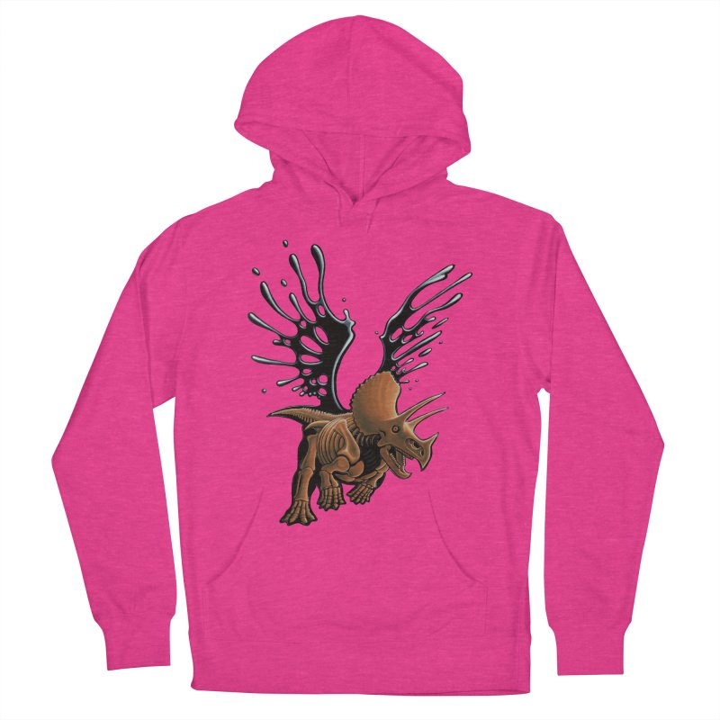 Triceratops Tar & Feathered Women's French Terry Pullover Hoody by Crab Saw Apparel