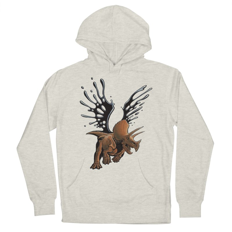 Triceratops Tar & Feathered Men's French Terry Pullover Hoody by Crab Saw Apparel