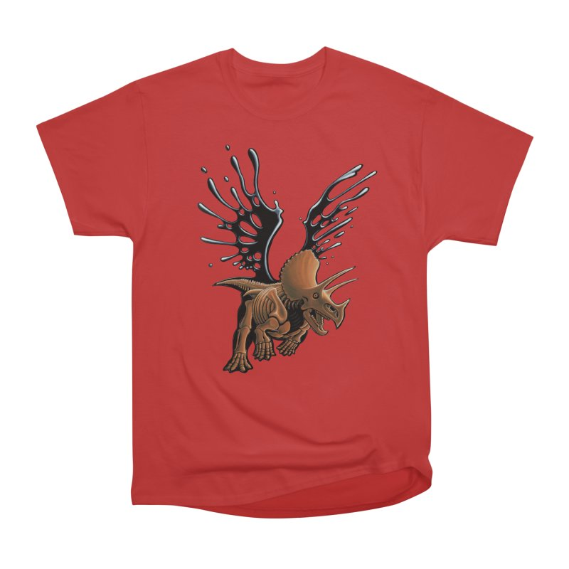 Triceratops Tar & Feathered Men's Heavyweight T-Shirt by Crab Saw Apparel