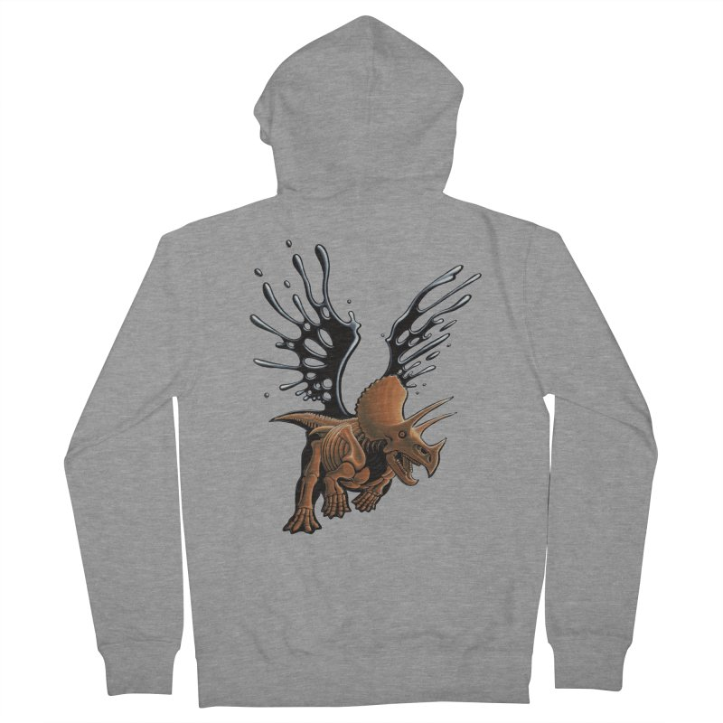 Triceratops Tar & Feathered Women's French Terry Zip-Up Hoody by Crab Saw Apparel