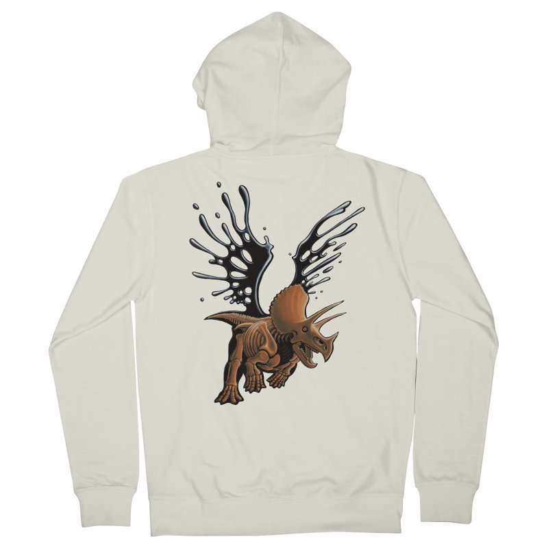 Triceratops Tar & Feathered Men's French Terry Zip-Up Hoody by Crab Saw Apparel