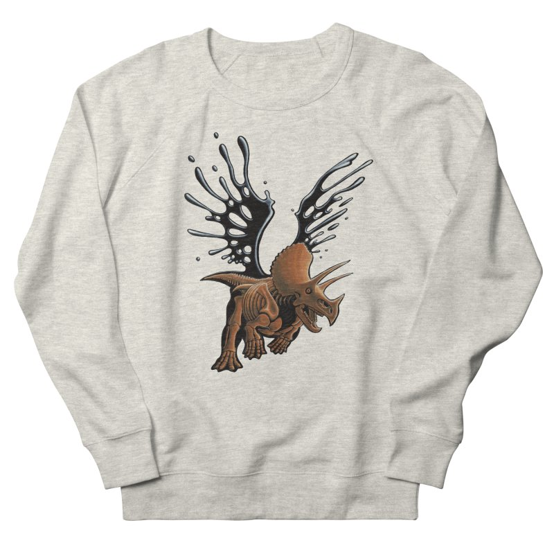 Triceratops Tar & Feathered Women's French Terry Sweatshirt by Crab Saw Apparel