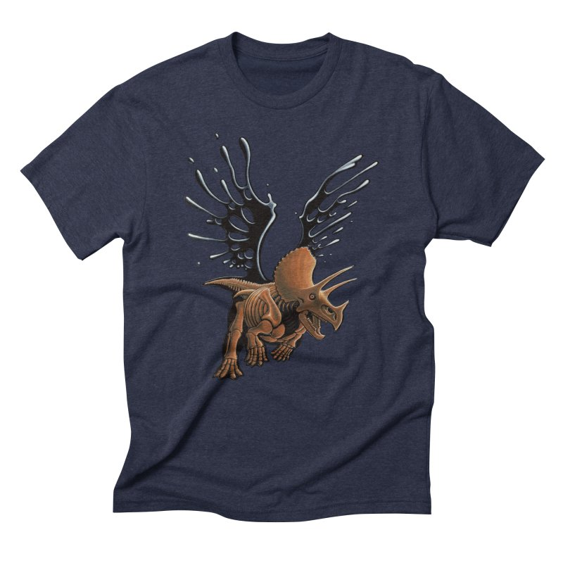Triceratops Tar & Feathered Men's Triblend T-Shirt by Crab Saw Apparel