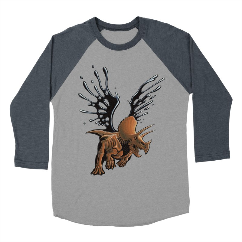 Triceratops Tar & Feathered Women's Baseball Triblend Longsleeve T-Shirt by Crab Saw Apparel