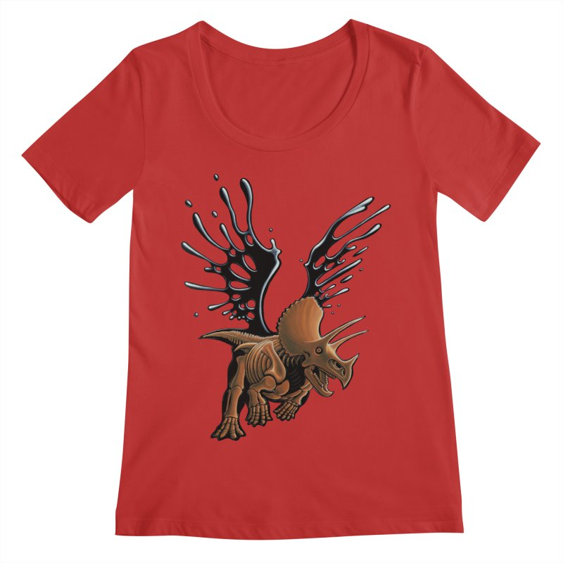 Triceratops Tar & Feathered Women's Regular Scoop Neck by Crab Saw Apparel