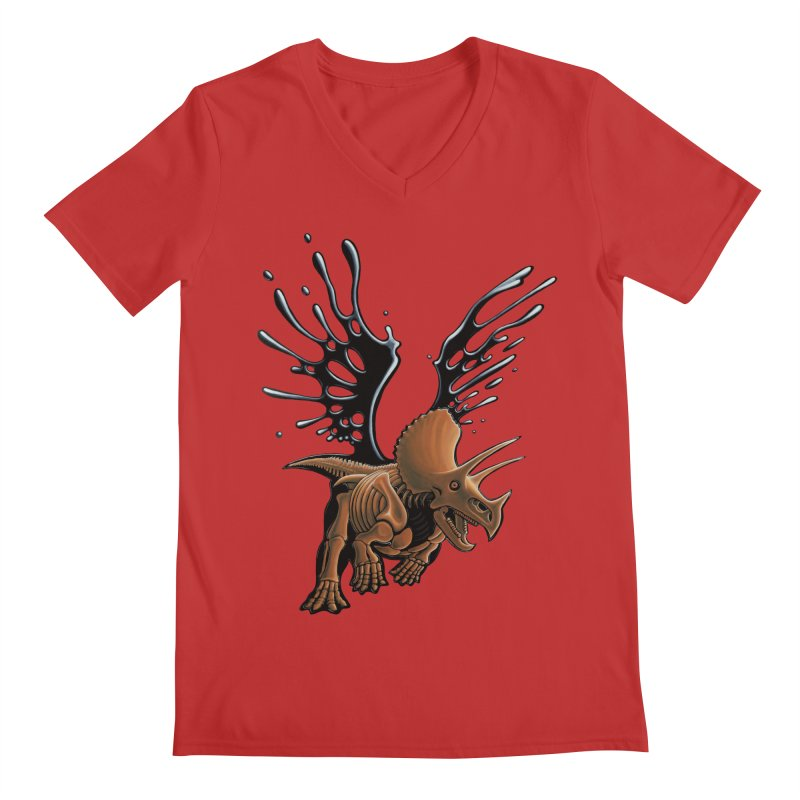 Triceratops Tar & Feathered Men's Regular V-Neck by Crab Saw Apparel