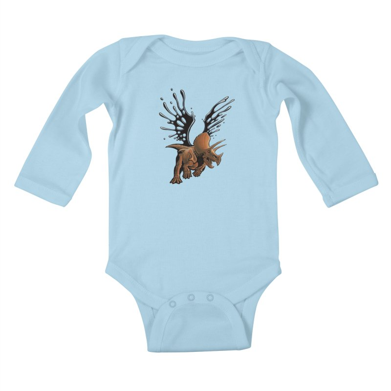 Triceratops Tar & Feathered Kids Baby Longsleeve Bodysuit by Crab Saw Apparel