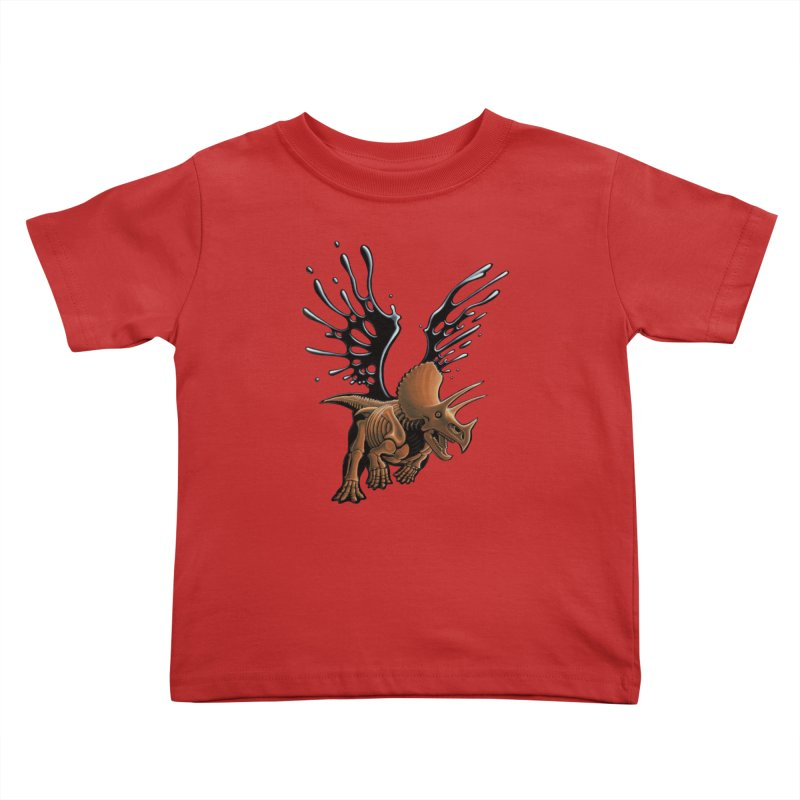 Triceratops Tar & Feathered Kids Toddler T-Shirt by Crab Saw Apparel