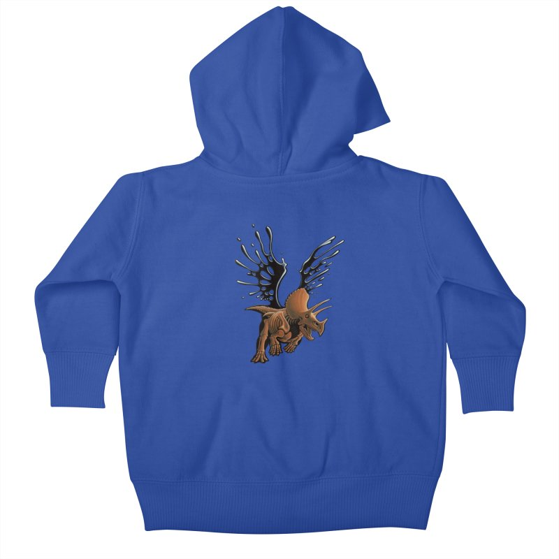 Triceratops Tar & Feathered Kids Baby Zip-Up Hoody by Crab Saw Apparel
