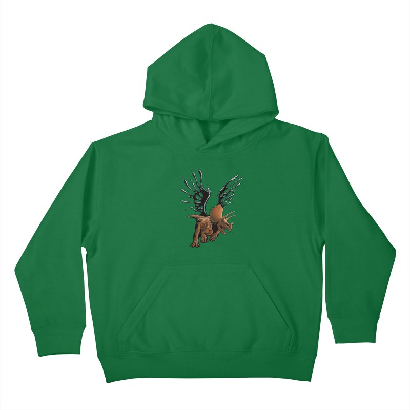 Triceratops Tar & Feathered Kids Pullover Hoody by Crab Saw Apparel