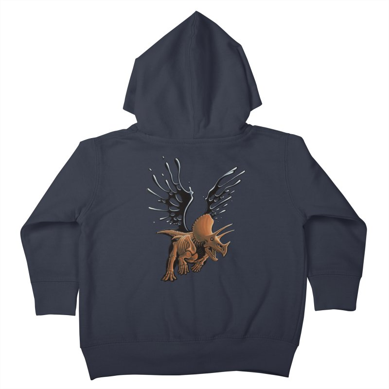 Triceratops Tar & Feathered Kids Toddler Zip-Up Hoody by Crab Saw Apparel