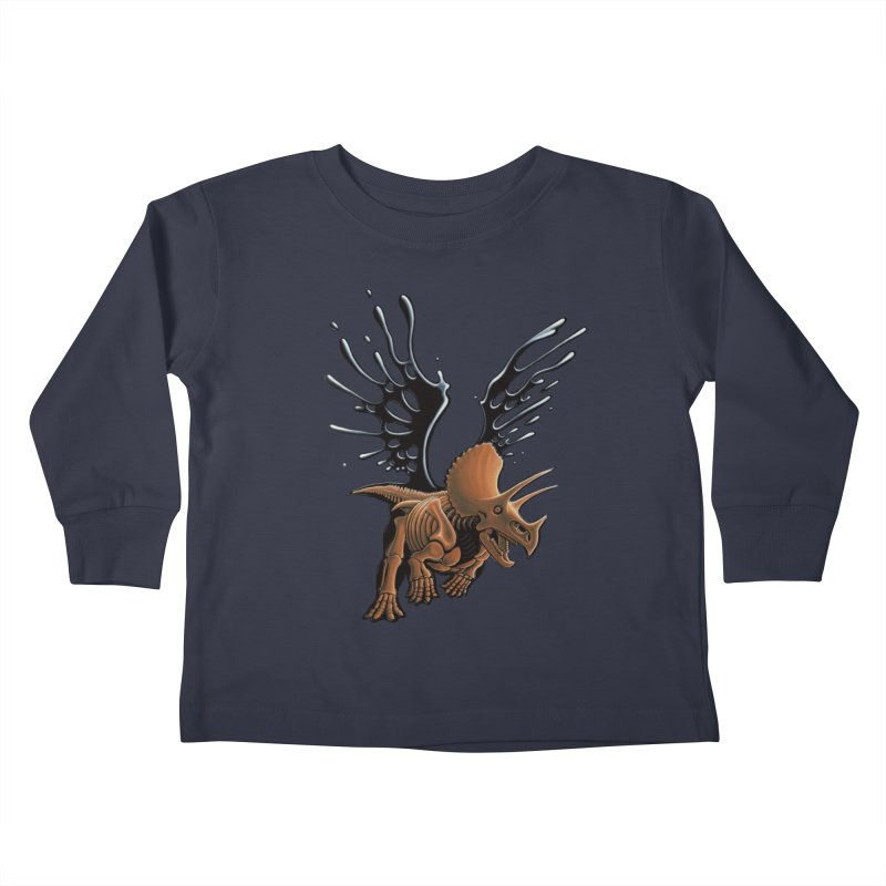 Triceratops Tar & Feathered Kids Toddler Longsleeve T-Shirt by Crab Saw Apparel