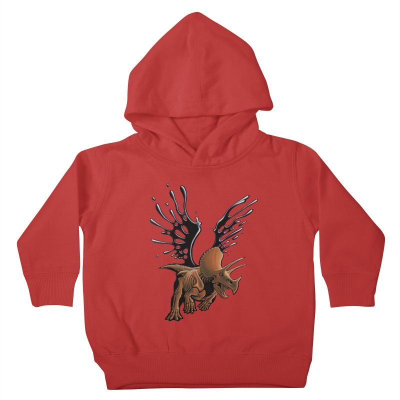 Triceratops Tar & Feathered Kids Toddler Pullover Hoody by Crab Saw Apparel