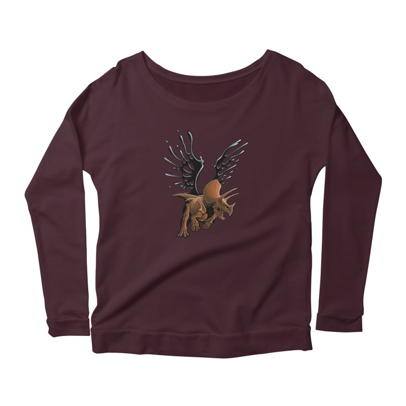 Triceratops Tar & Feathered Women's Scoop Neck Longsleeve T-Shirt by Crab Saw Apparel