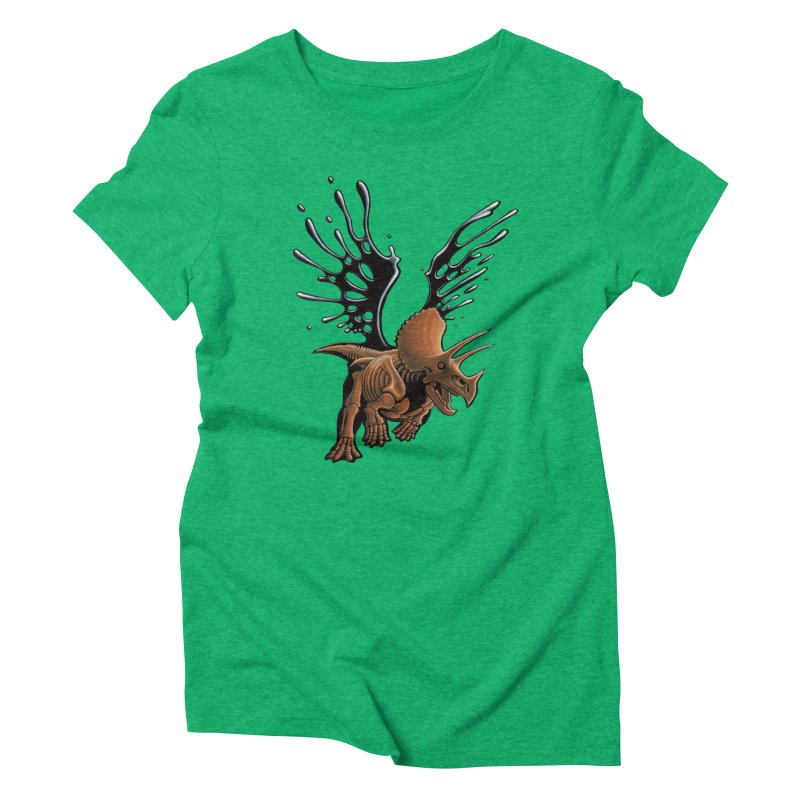 Triceratops Tar & Feathered Women's Triblend T-Shirt by Crab Saw Apparel