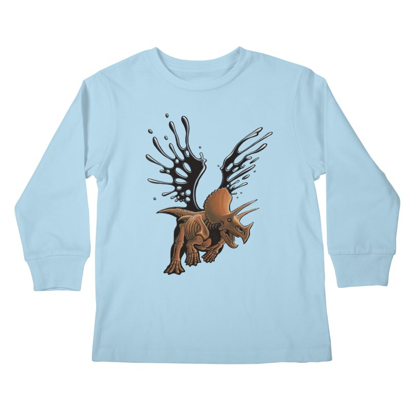 Triceratops Tar & Feathered Kids Longsleeve T-Shirt by Crab Saw Apparel