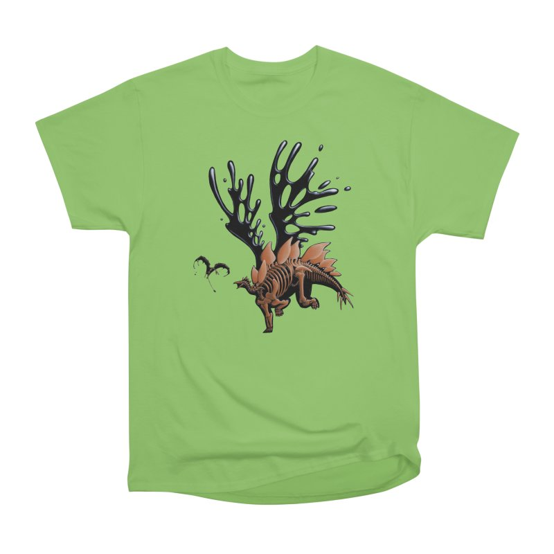 Stegosaurus Tar & Feathered Men's Heavyweight T-Shirt by Crab Saw Apparel