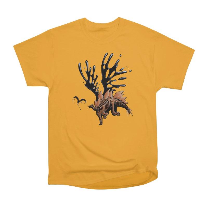 Stegosaurus Tar & Feathered Men's Heavyweight T-Shirt by Crab Saw Apparel