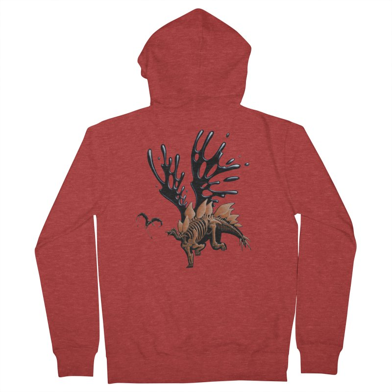 Stegosaurus Tar & Feathered Men's French Terry Zip-Up Hoody by Crab Saw Apparel