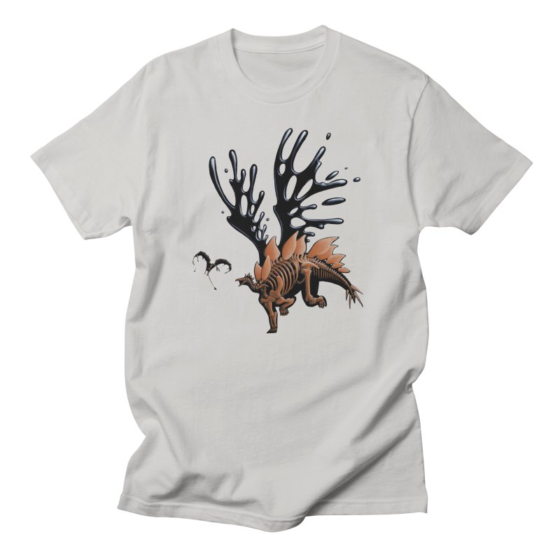 Stegosaurus Tar & Feathered in Men's Regular T-Shirt Stone by Crab Saw Apparel