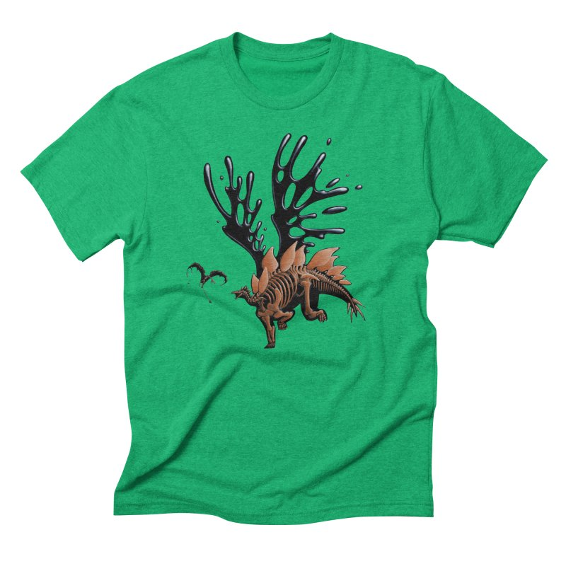 Stegosaurus Tar & Feathered Men's Triblend T-Shirt by Crab Saw Apparel