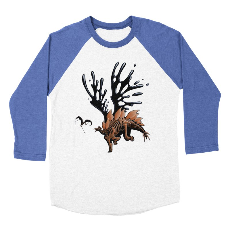 Stegosaurus Tar & Feathered Men's Baseball Triblend Longsleeve T-Shirt by Crab Saw Apparel
