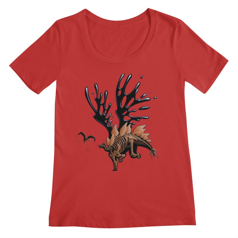 Stegosaurus Tar & Feathered Women's Regular Scoop Neck by Crab Saw Apparel
