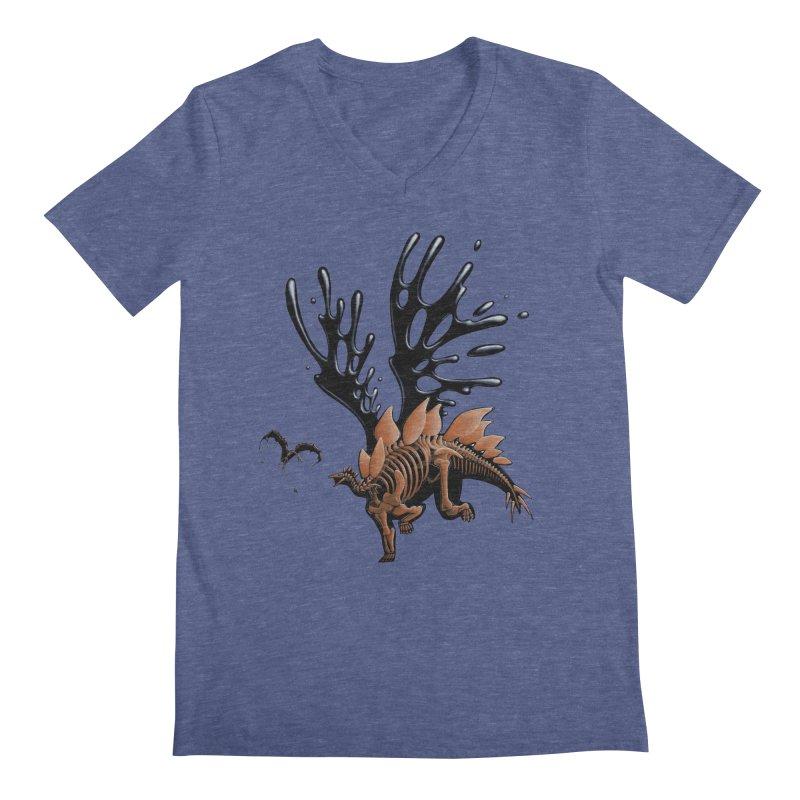 Stegosaurus Tar & Feathered Men's Regular V-Neck by Crab Saw Apparel
