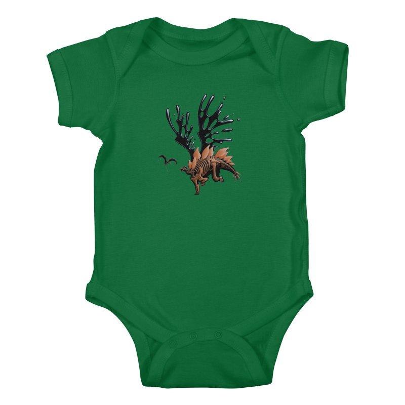 Stegosaurus Tar & Feathered Kids Baby Bodysuit by Crab Saw Apparel