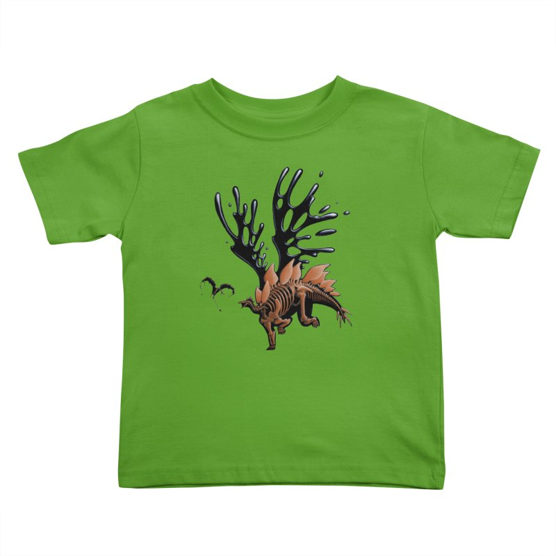 Stegosaurus Tar & Feathered Kids Toddler T-Shirt by Crab Saw Apparel
