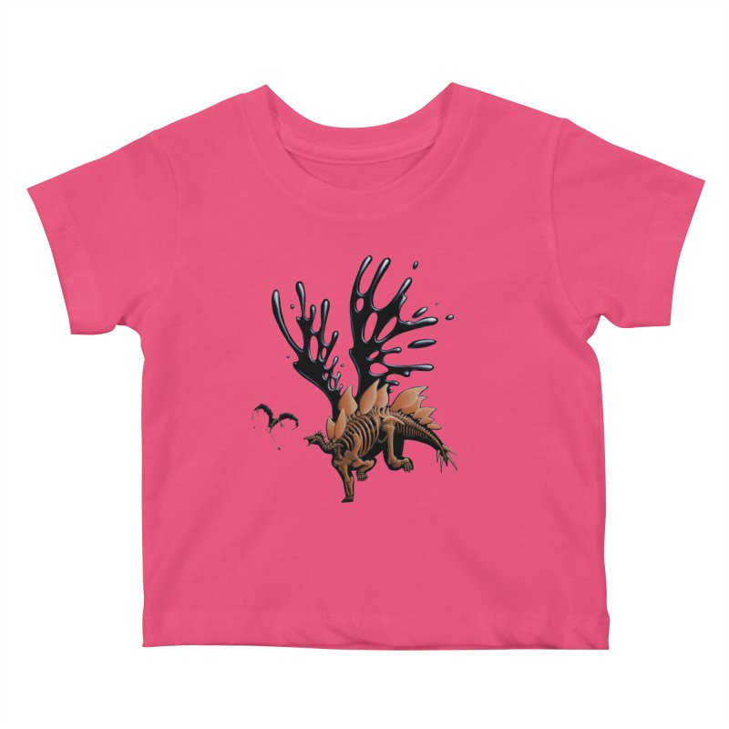 Stegosaurus Tar & Feathered Kids Baby T-Shirt by Crab Saw Apparel