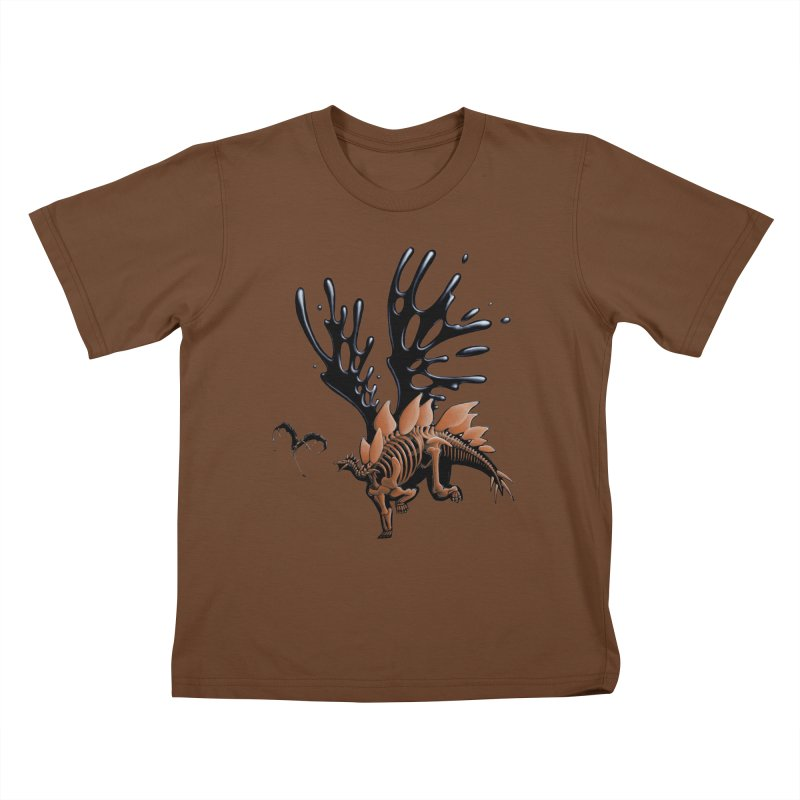 Stegosaurus Tar & Feathered Kids T-Shirt by Crab Saw Apparel