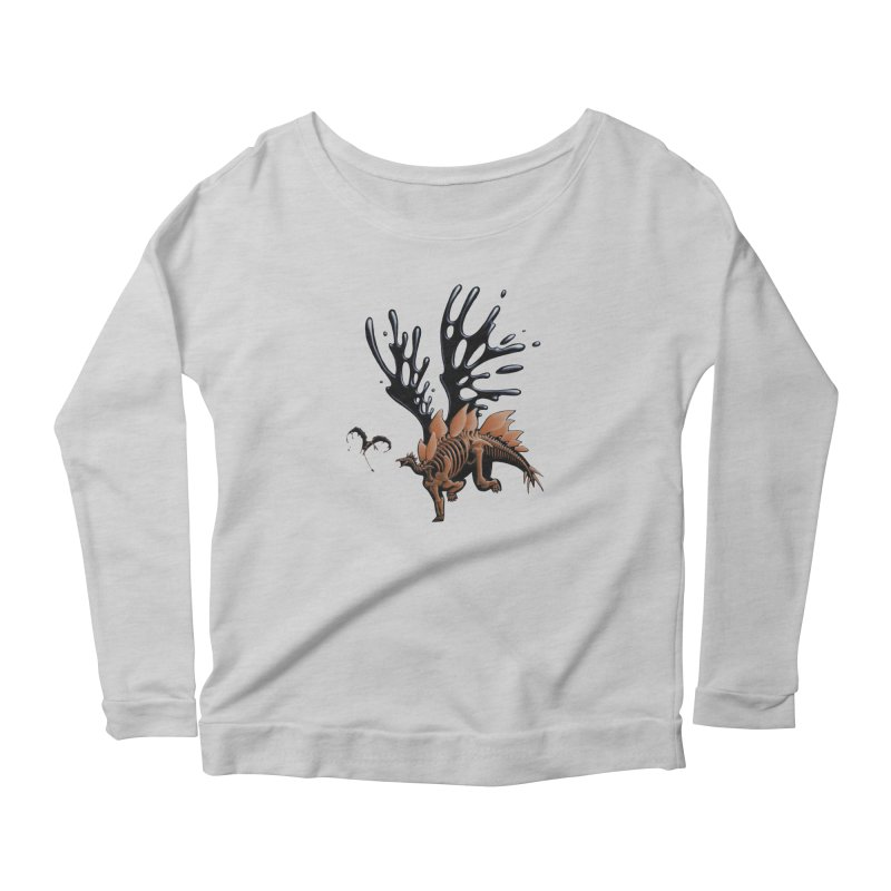 Stegosaurus Tar & Feathered Women's Scoop Neck Longsleeve T-Shirt by Crab Saw Apparel