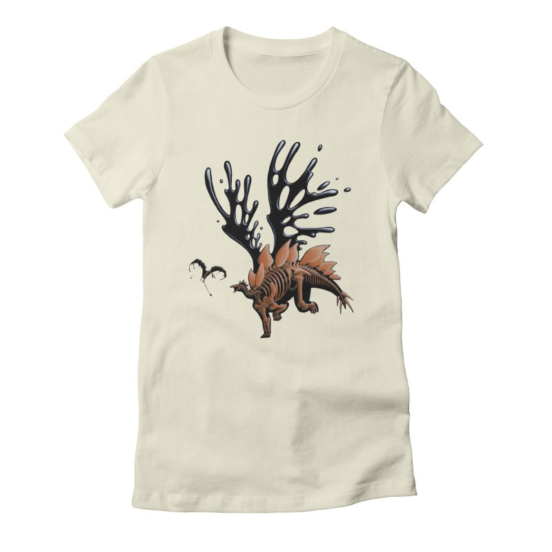 Stegosaurus Tar & Feathered Women's Fitted T-Shirt by Crab Saw Apparel