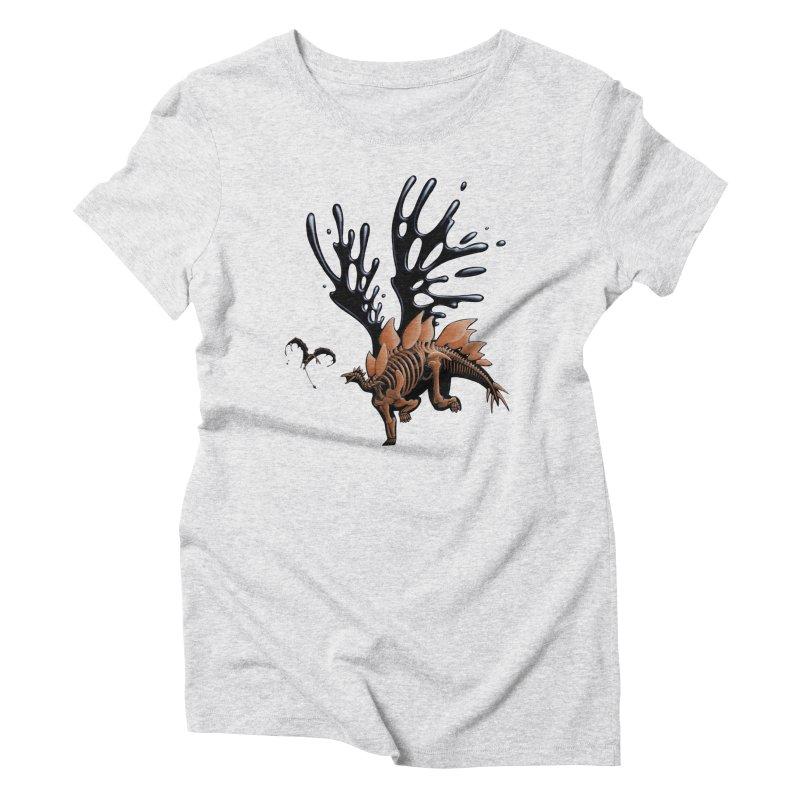 Stegosaurus Tar & Feathered Women's Triblend T-Shirt by Crab Saw Apparel