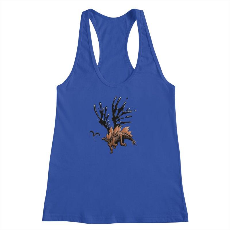 Stegosaurus Tar & Feathered Women's Racerback Tank by Crab Saw Apparel