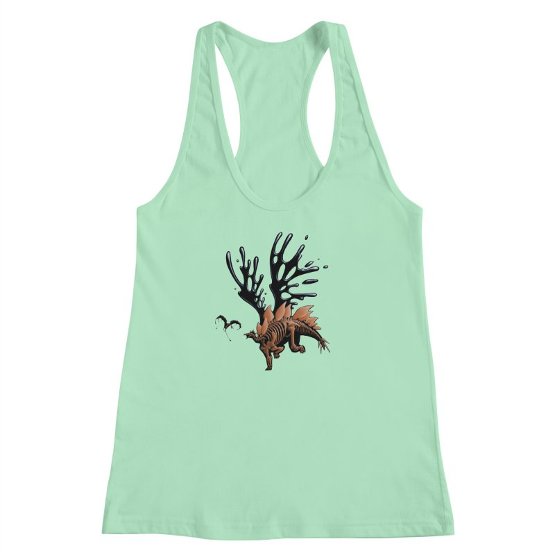 Stegosaurus Tar & Feathered Women's Racerback Tank by Crab Saw Apparel
