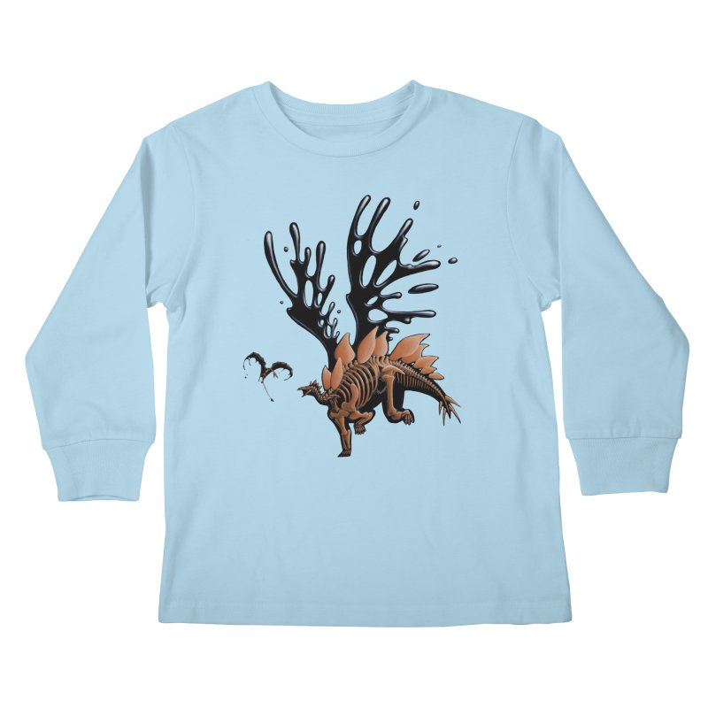 Stegosaurus Tar & Feathered Kids Longsleeve T-Shirt by Crab Saw Apparel